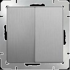 Выключатель двухклавишный (серебрянный рифленый) WL09-SW-2G WERKEL