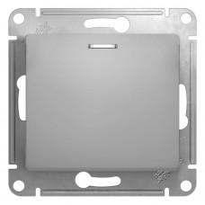 Нажимная кнопка с подсветкой, сх.1а, 10АХ, механизм, АЛЮМИНИЙ  GLOSSA