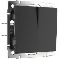 Выключатель двухклавишный проходной (черный матовый) WL08-SW-2G-2W WERKEL
