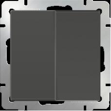 Выключатель двухклавишный с подсветкой (серо-коричневый) WL07-SW-2G LED
