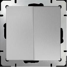 Выключатель двухклавишный проходной (серебрянный) WL06-SW-2G-2W WERKEL