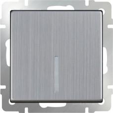 Выключатель одноклав. проходной с подстветкой (глянцевый никель) WL02-SW-1G-2W-LED WERKEL