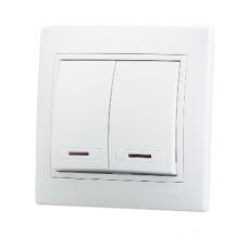 Выключатель двойной с подсветкой белый с белой вставкой MIRA