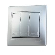 Выключатель тройной метал серый со вставкой MIRA