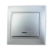 Выключатель с подсветкой метал серый со вставкой MIRA