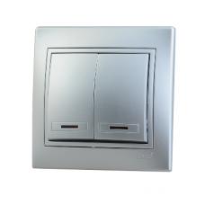 Выключатель двойной с подсветкой метал серый со вставкой  MIRA